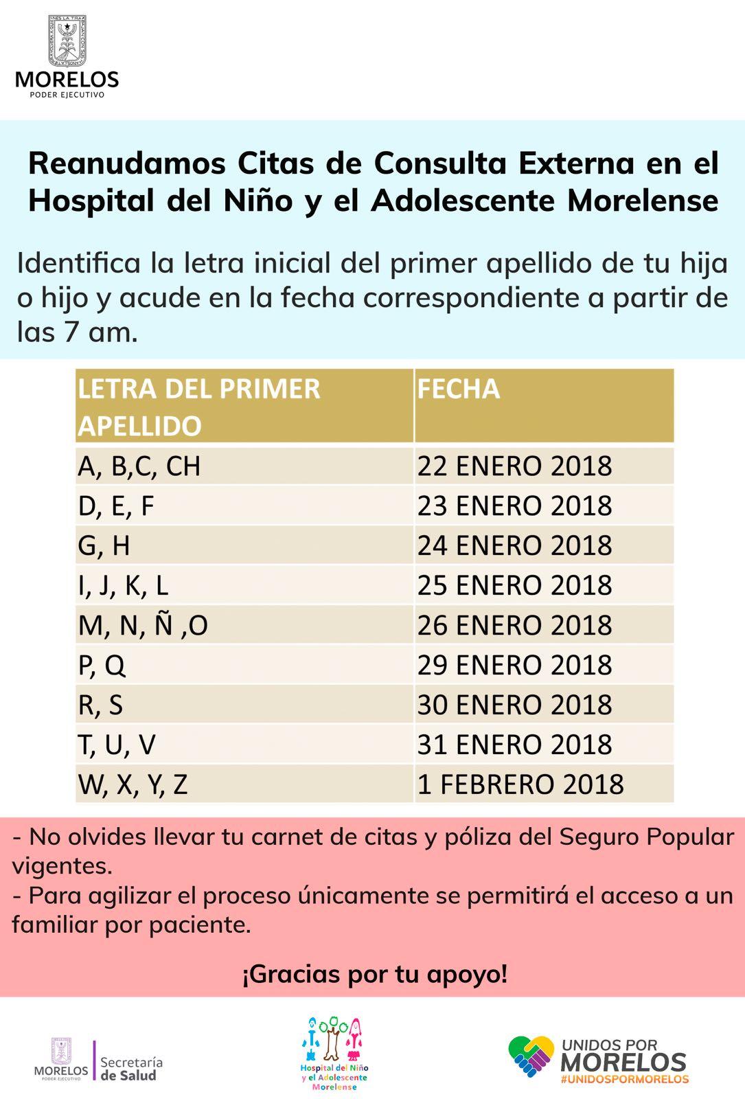 REANUDA HNAM CITAS DE CONSULTA EXTERNA | Secretaria de Salud